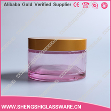 2015 high quality 170g red empty glass cosmetic jar with screw cap