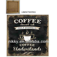 hot selling coffee wall paintings on linen