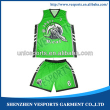 100% Polyester sublimation latest design your own college basketball uniform design green