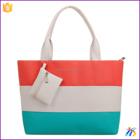 2016 high quality cheap beach tote bag with a small hanging pouch