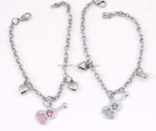 popular double item key and lock hollow out lover bracelet for Valentine's gift