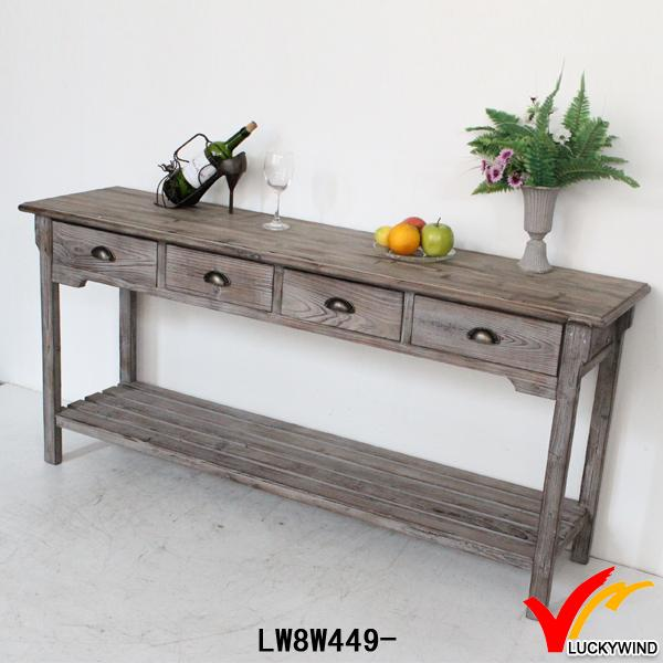 French Vintage Country Recycled Long Narrow Wood Console Table - Buy ...