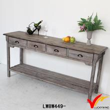 french vintage country recycled long narrow wood console table