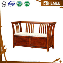 SF0908 Golden cherry colour two seater simple design solid wood shopping sofa