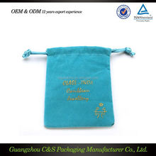 Good price light blue velvet jewelry pouch