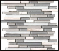 cheap glass mosaic tile mix stone for interior decoration