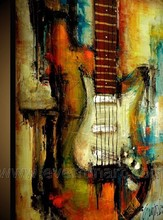 music instruments oil painting of abstraction painting guitar oil painting on canvas