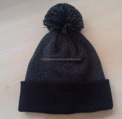 Custom elephant printed logo knit beanie hat with top ball