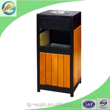 Outdoor wooden dustbin waste bin litter bin stainless steel ashtray bin