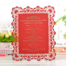 A rectangle red hongkang menu card for laser wedding invitation