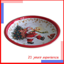 wholesale magnetic custom christmas large tin tray for fruit/cake/dessert