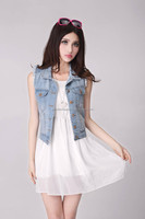 lady fashion summer light blue sleeveless denim jacket