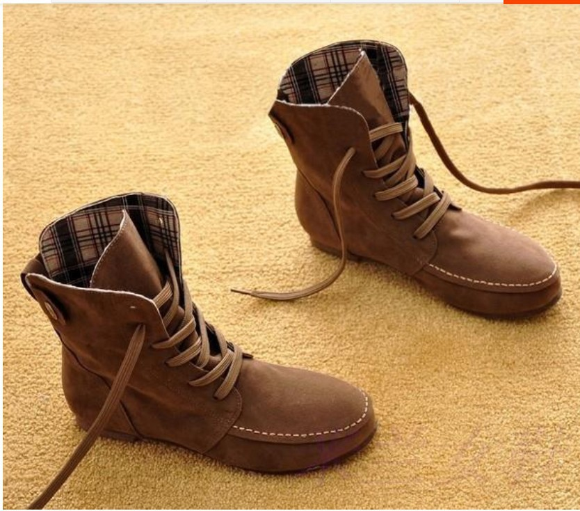 Short Brown Lace Up Boots