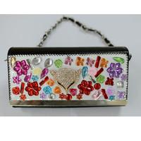 Black PU fashion design ladies handbag, fashion handbag with stones(WT-150417022)