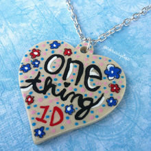 Hand painted One Direction inspired necklace // One Thing heart