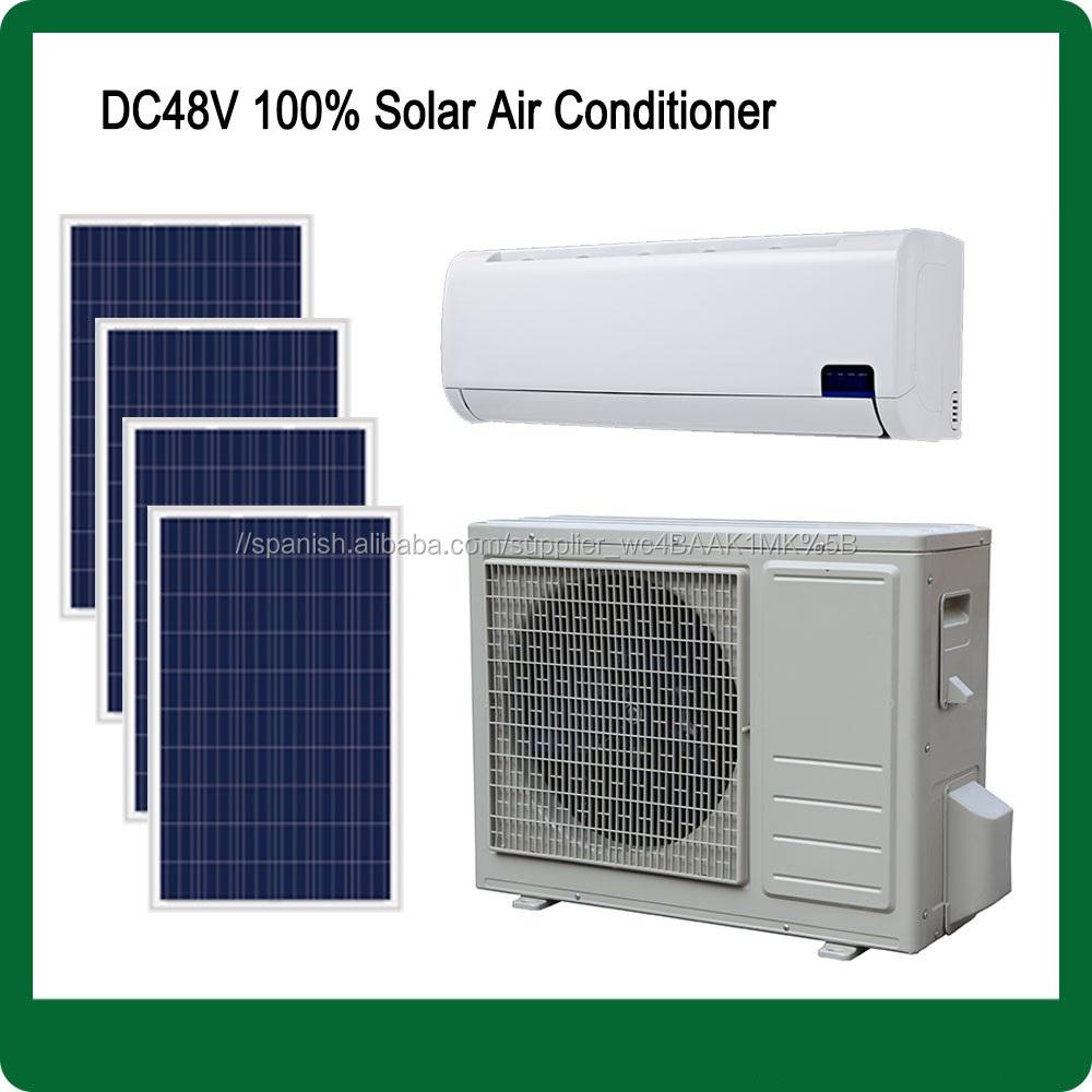 DC 12000BTU 18000BTU dc48V 100% variable de energía todo el día fuera de la red solar hogar tranquilo aire acondicionado para
