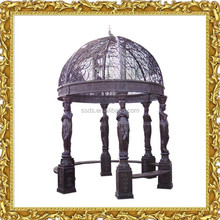 Cheap Garden iron round metal gazebo with statue