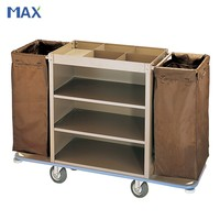 hotel service stainless steel soiled housekeeping trolley