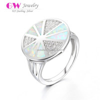 White Opal 925 Silver Diamond Ring Micro Zircon Stones Paved Value 925 Silver Ring