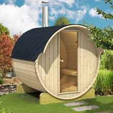 large outdoor barrel dry steam wooden sauna room