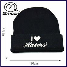 wholesale unisex hip hop custom logo design knitted black winter beanie