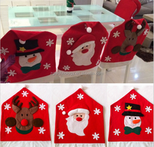 New Design High Quality Lovely Snowmen Red Chair Back Covers for Christmas Table Party Home Decorations Gift