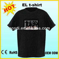 HOT!!!fashion sound activated t-shirt/led light t-shirt/el tshirt