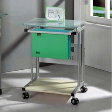 Mobile green glass top office furniture computer desk