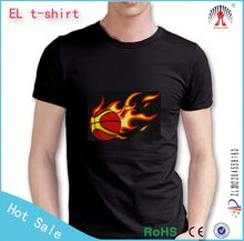 Hot Sale led flashing sound active t-shirt panel--2015 hot selling el t-shirt panel
