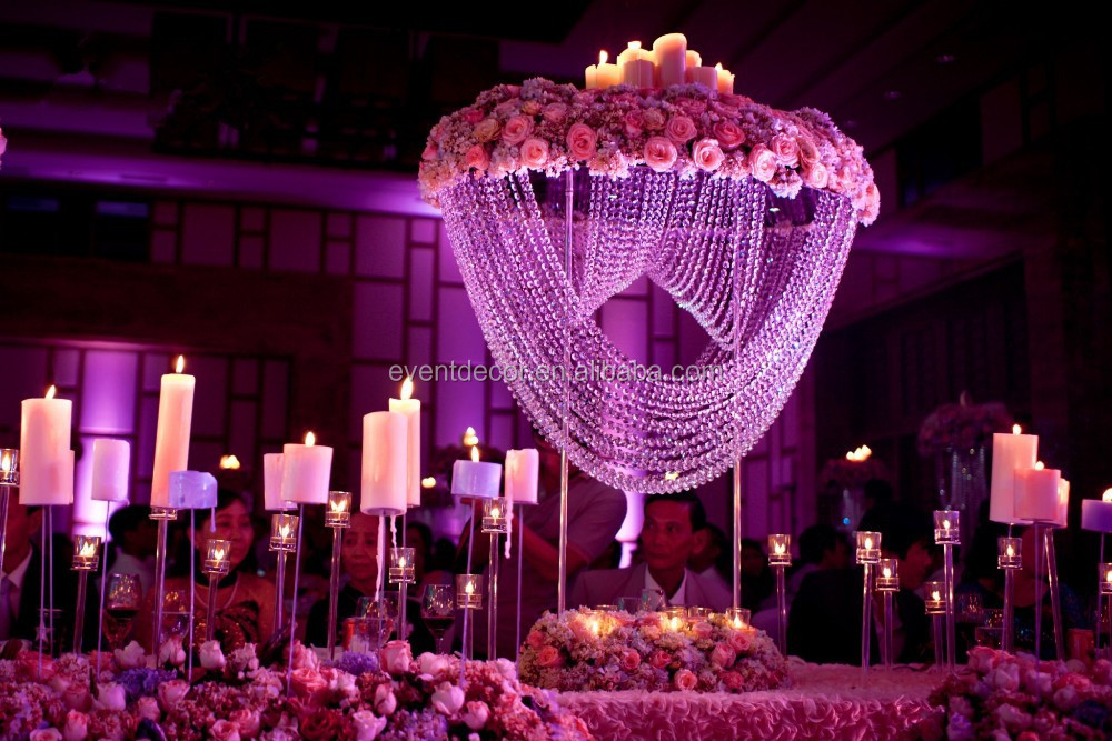 Wedding flower stand crystal centerpieces for