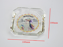 Tourist souvenir crystal cigar ashtray with silver foil of Budapest