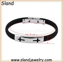 Alibaba hot sale fashion jewelry, Sland custom rubber bracelets with hollowed cross on stainless steel plate