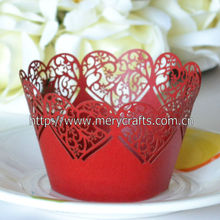 "Personalized ""traditional hearts"" party supply laser cut cupcake wrappers unique wedding favors"