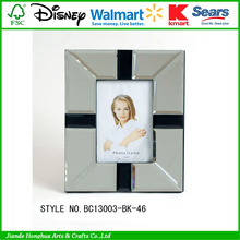Bevelled mirror glass photo frame with MDF backing with velvet