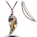 multi escolha colorido angel wing colar
