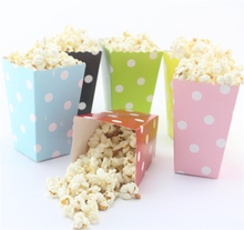 Rainbow color lovely mini popcorn box, Craft paper small food boxes,party decorations supply