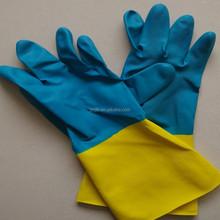 Yellow & Blue Oil Resistance Neoprene Gloves/Neoprene Chemical Resistance Gloves