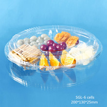 Alibaba China Disposable Plastic fruit and food packing tray with 6 diviers