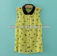 Stock available new fashion lace blouse designs blusa de pajarosBU009