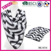 100% Polyester White Chevron scarf