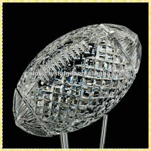 Clear Faceted Large Rugby Figurine Crystal For NFL Sport Trophy Awards