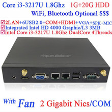 thin client terminal i3 mini pc with fan Intel i3-3217U 1.8Ghz CPU NM70 chip 3G card slot 2 RJ45 VGA COM 1G RAM 20G HDD