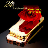 newest Luxury Aluminum Bumper Ultra-thin Mirror Back Metal Case Cover for apple iphone 5 5s