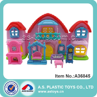 pink plastic house villa toys with dolls