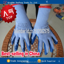 DANFENG DC208 Blue latex glove worker impact resistant Latex Cotton Gloves Wear Comfortable Latex Labor Gloves superior