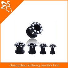 New Black Flexible Silicone Spike Flesh Tunnel Ear Stretcher Expander Plug Body Piercing Jewelry