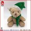 Promotional gift green scarf and hat stuffed bear small plush toy