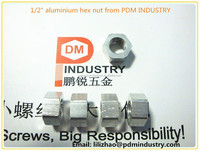 "1/2"" hex nut,aluminium,flat edge 19,height 10,unit weight 5.6g from PDM INDUSTRY"
