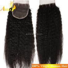Top Quality Brazilian Virgin Human Hair Closure Afro Kinky Straight Yaki Straight Lace Closure With Baby Hair