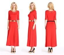 New Designs Long Sleeves Rayon Lady Dress Classic Maxi Dress